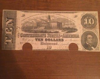 1862 Confederate 10 dollar bill very fine 12/2/1862