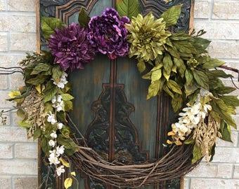 Everyday Wreath, Front Door Wreath, Indoor Wreath, Peony Wreaths, Floral Wreaths
