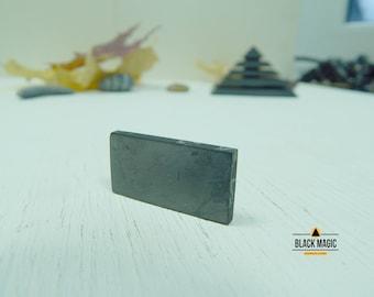 Polished shungite plate for phone, rectangle tile, emf protection, healing shungite stone