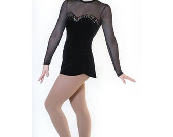 Women's Figure Skating Dance Competition Dress Figure Ice Skating Dress - Little Black Dress