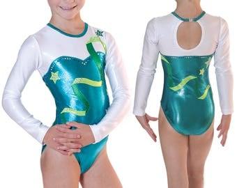 Girl's Dance, Rhythmic Gymnastics Long Sleeve Leotard Outfit. Any Color w/Applique