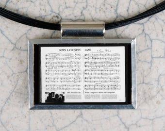 Aaron Copeland Sheet Music Microfiche Necklace - Life Magazine 6-29-62