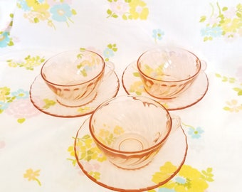 Arcoroc France pink Rosaline glass cups and saucers set of 3. Vintage 1970s swirl