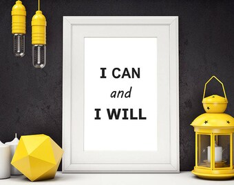 I Can And I Will, Motivational Poster, Fitness Motivation, Typography Poster, Weight Loss Motivation, Inspirational Wall Art, #HQMOT002
