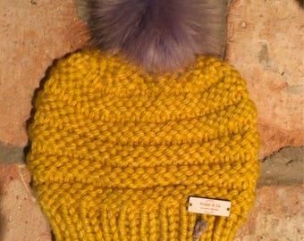 Mustard Yellow Knit and Purl Motif Hat --- Beehive hat --- Sesona Pattern hat