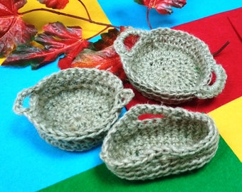 Set of 3 pieces Knitted baskets / Knitted of twine baskets