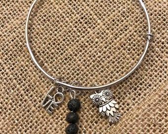 Silver Three Charm Bracelet - Owl - Love - Lava Rock Bead