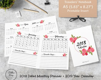 2018 Calendar Printable, A5 Monthly Calendar, A5 TN Planner Inserts, Monthly Planner 2018, Month on One Page, 2018 A5 Printable, A5 Planner