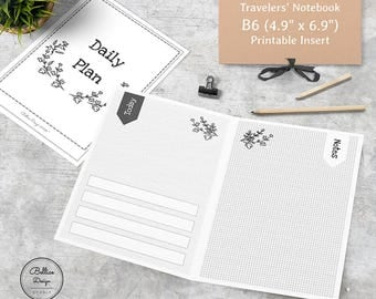 Dot Notebook and Grid Notebook, B6 Size Midori, Day on Two Page Inserts, Day Planner Printable, Floral Notebook, TN Insert B6, B6 Planner