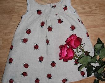 Linen ladybug dress/tunic