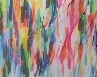 Pure Mulberry Silk dpc-33058 Abstrative Rainbow Stripes Digital Printed Pattern 6mm Pure Silk Chiffon Fabric material sheer Yard or Meters