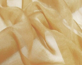 Super soft Pure Mulberry Silk Solid Tan pure silk chiffon fabric material sheer # hac 9