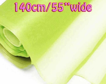 140cm Wide Shadow Lime Green 100% Real Mulberry Silk Organza Fabric Natural Silk Material (QI Za 20002W X Yards / Meters)