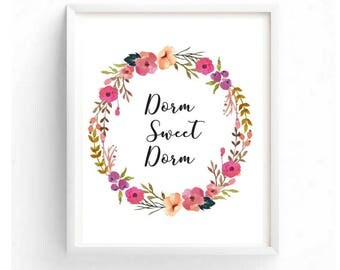 Dorm Sweet Dorm Printable Digital Wall Art Watercolor Floral Art Back to School Dorm Wall Decor For Girls School College Painting