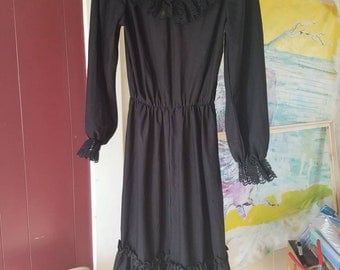 Vintage 1970's black dress with lace