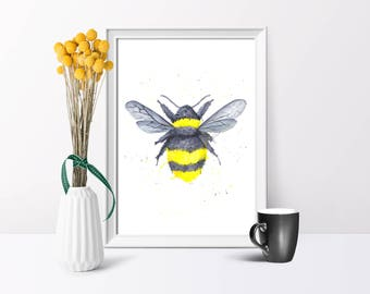 Bumble Bee, Watercolour Illustration, A4/A5  Print