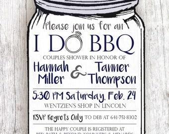 Mason Jar Themed Wedding Shower Invitation - I Do BBQ