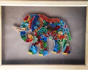 Quilling elephant, quiil art, personalized elephanat, original gift, home decor,handmade gift