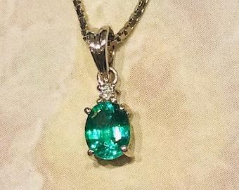 14K  White Gold 0.55 ct Emerald Diamond Pendant