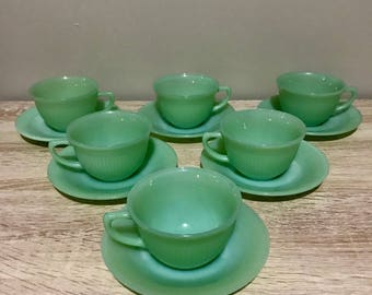 6 Fire King Jadeite Jane Ray Tea Cups and Saucers