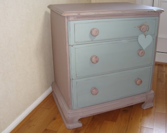 An old wooden 3 drawer chest  painted in 2 coats of Annie Sloan 'Coco' and 'Duck Egg Blue' Chalk paint