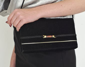 VINTAGE Black Velvet Retro Bag