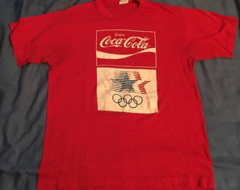 Vintage 1984 Coca Cola Coke Olympic Games Red T Shirt - Size Small/Medium