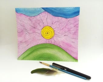 "Original Watercolor and Ink Illustration ""Sunbeams"""