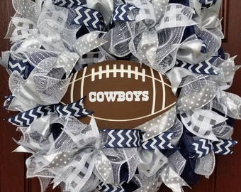 Dallas Cowboys Football Mesh and Ribbon Wreath