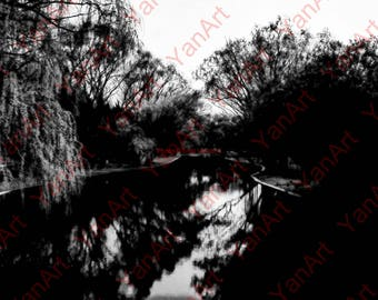 River, Black and White,Digital Art, Art Prints or License for Art Prints