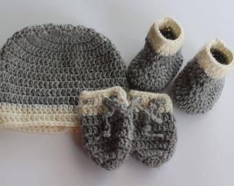 Marl Grey & White Bootie, Beanie and Mitten Set - 100% Wool