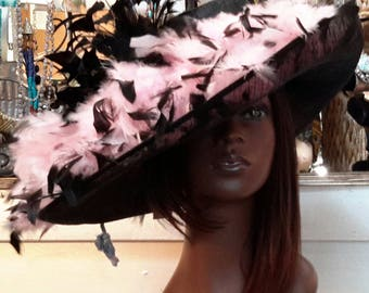 Pink and Black Kentucky Derby Hat