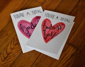 Watercolor Valentines Day Card, Youu0027re A Badass Babe, Card For Galentines  Day