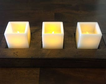 LED Candle Tray * LED Candle Stand * Rustic * Solid Wood LED Candle Stand