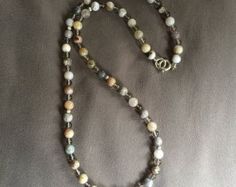 Agate and Smokey Quartz Beaded Necklace