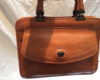 Vintage Cognac colorful leather case with carry handle and shoulder handle!