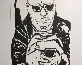 Original Ink Drawing of a Man in the Boston Subway