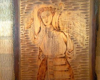 Vintage Romanian wooden engraving