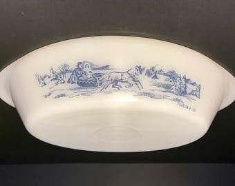 Glassbake Currier & Ives Divided Dish