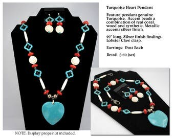Huge Turquoise Heart Pendant Necklace Set
