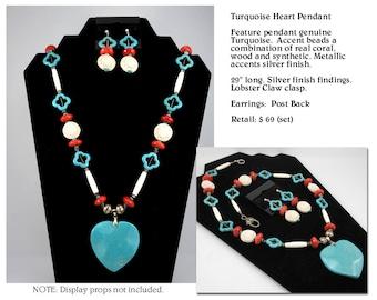 Huge Turquoise Heart Pendant Necklace Set