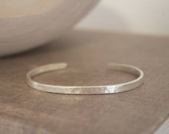 Handcrafted Pure Silver Bracelet, Solid Silver Hammered Bracelet, Men's and Women's, Small