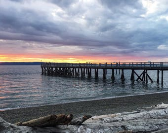 Waterfront beach sunset photograph