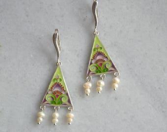 Ornamental earrings, Cloisonné earrings, Enamel earrings, Silver earrings, Floral earrings, Pearl earrings