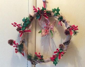Handmade willow vine Christmas wreath