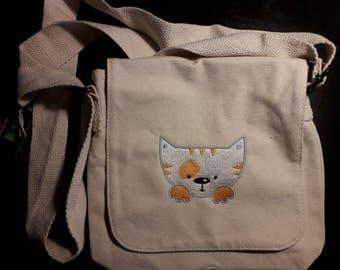 Embroidered Personalised Fairtrade cotton canvas mini messenger Adjustable shoulder strap