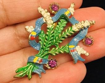 Very Vintage Rhinestone Enamel Floral Brooch Pin