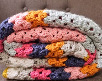 Huge Granny Square Crochet Blanket