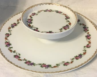 Vintage Two Tier Rose and Vines Serving Plate