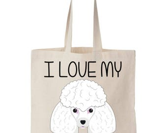 I Love My Poodle Canvas Tote Bag